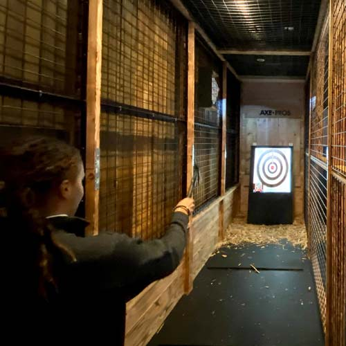 Hit a bullseye at our Axe Throwing